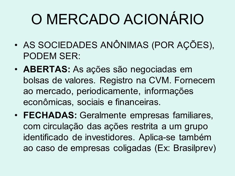 O MERCADO ACIONÁRIO AS SOCIEDADES ANÔNIMAS (POR AÇÕES), PODEM SER:
