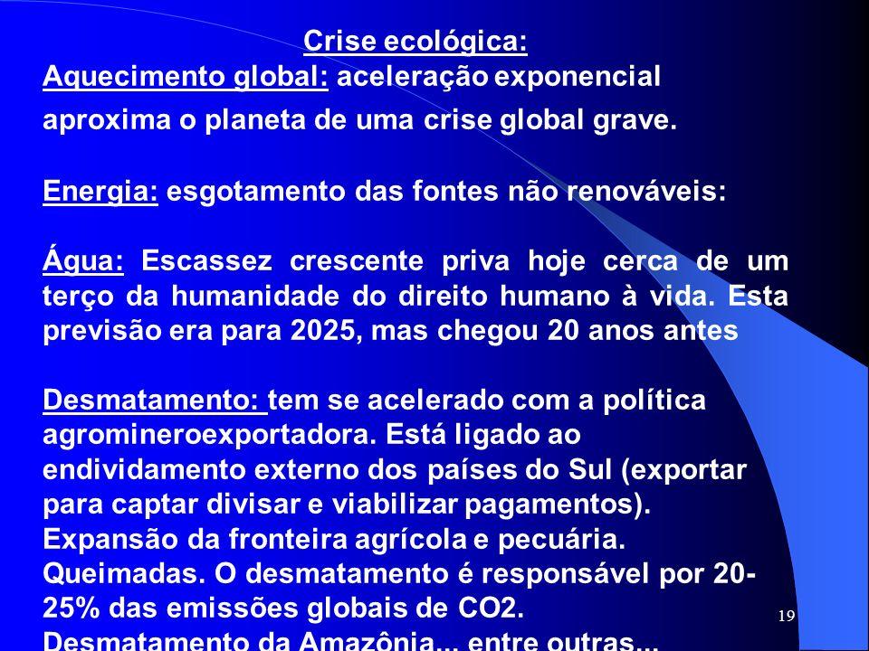 Crise ecológica: Aquecimento global: aceleração exponencial aproxima o planeta de uma crise global grave.