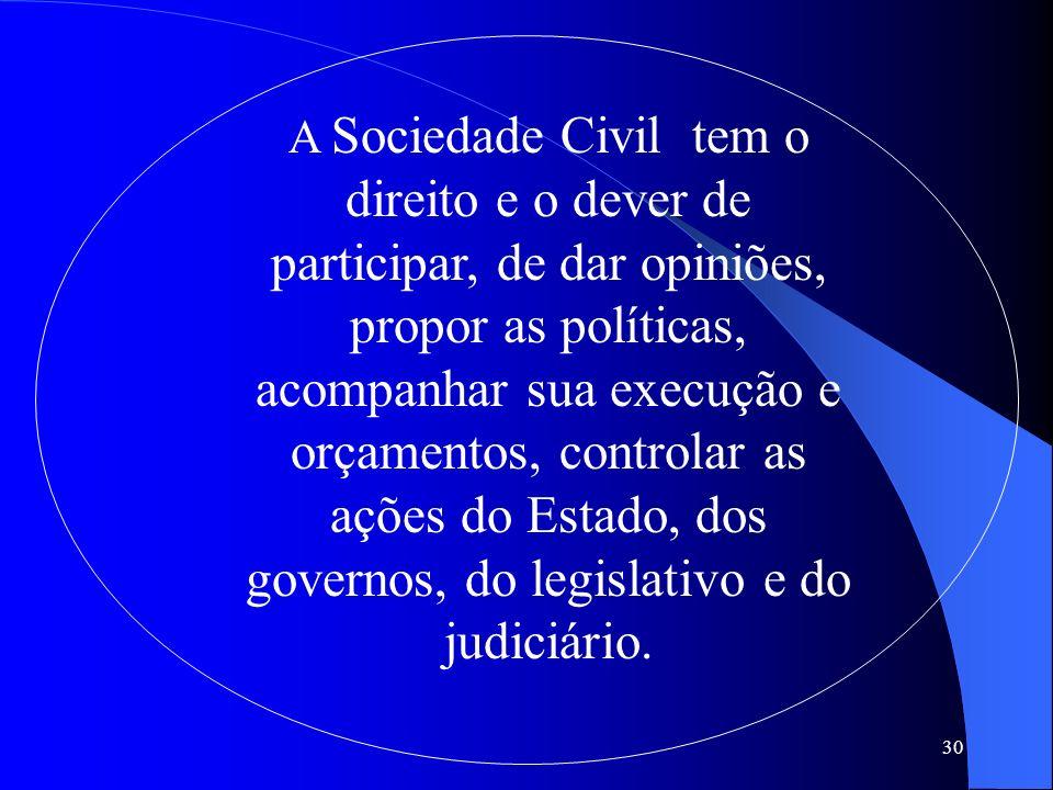 A Sociedade Civil tem o direito e o dever de participar, de dar opiniões, propor as políticas, acompanhar sua execução e orçamentos, controlar as ações do Estado, dos governos, do legislativo e do judiciário.