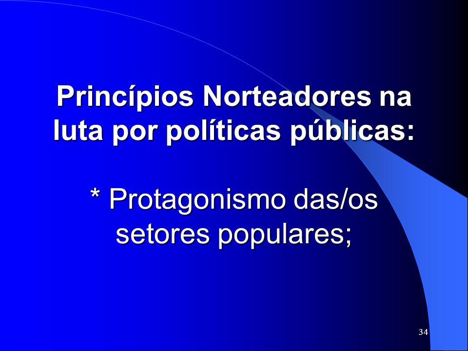 Princípios Norteadores na luta por políticas públicas: