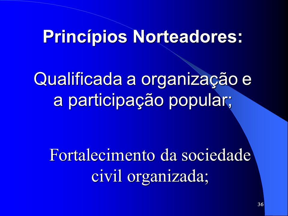 Fortalecimento da sociedade civil organizada;