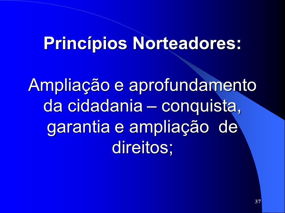 Princípios Norteadores: Ampliação e aprofundamento da cidadania – conquista, garantia e ampliação de direitos;
