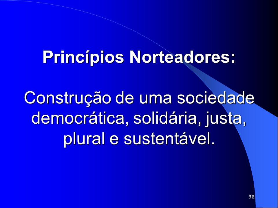 Princípios Norteadores: Construção de uma sociedade democrática, solidária, justa, plural e sustentável.
