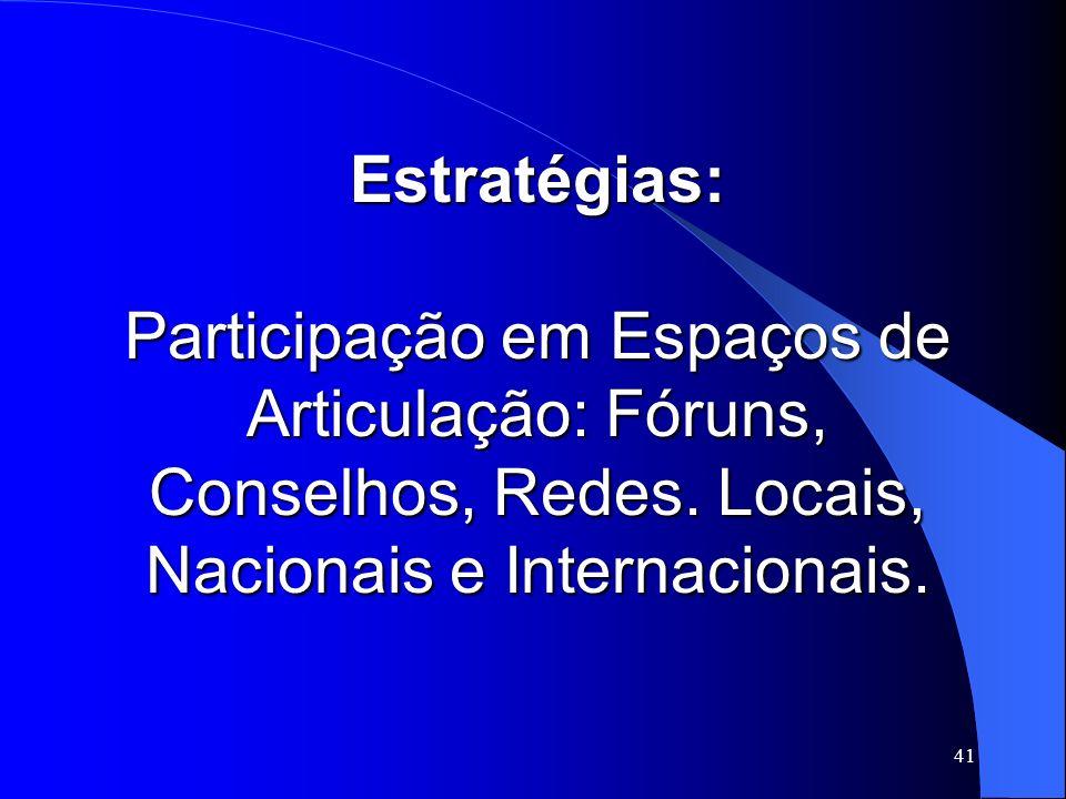 Estratégias: Participação em Espaços de Articulação: Fóruns, Conselhos, Redes.