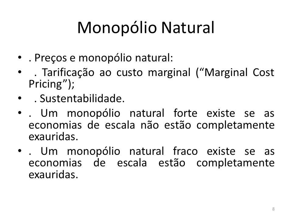 Monopólio Natural . Preços e monopólio natural: