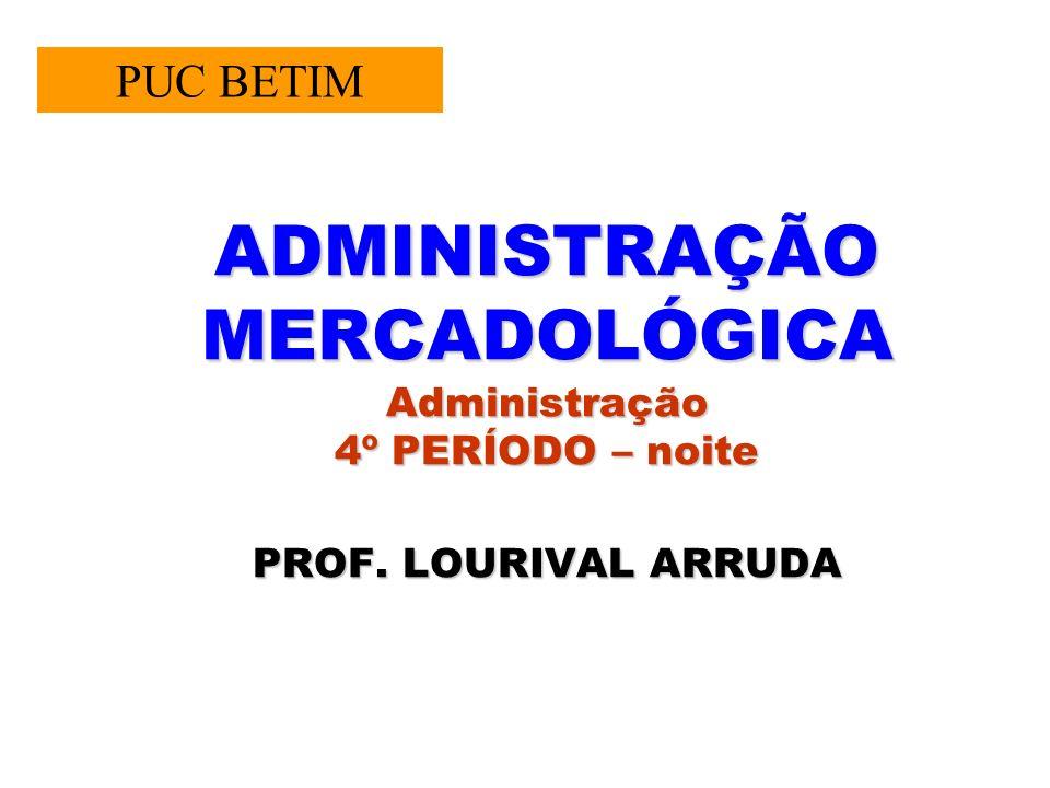 PUC BETIM ADMINISTRAÇÃO MERCADOLÓGICA Administração 4º PERÍODO – noite PROF. LOURIVAL ARRUDA