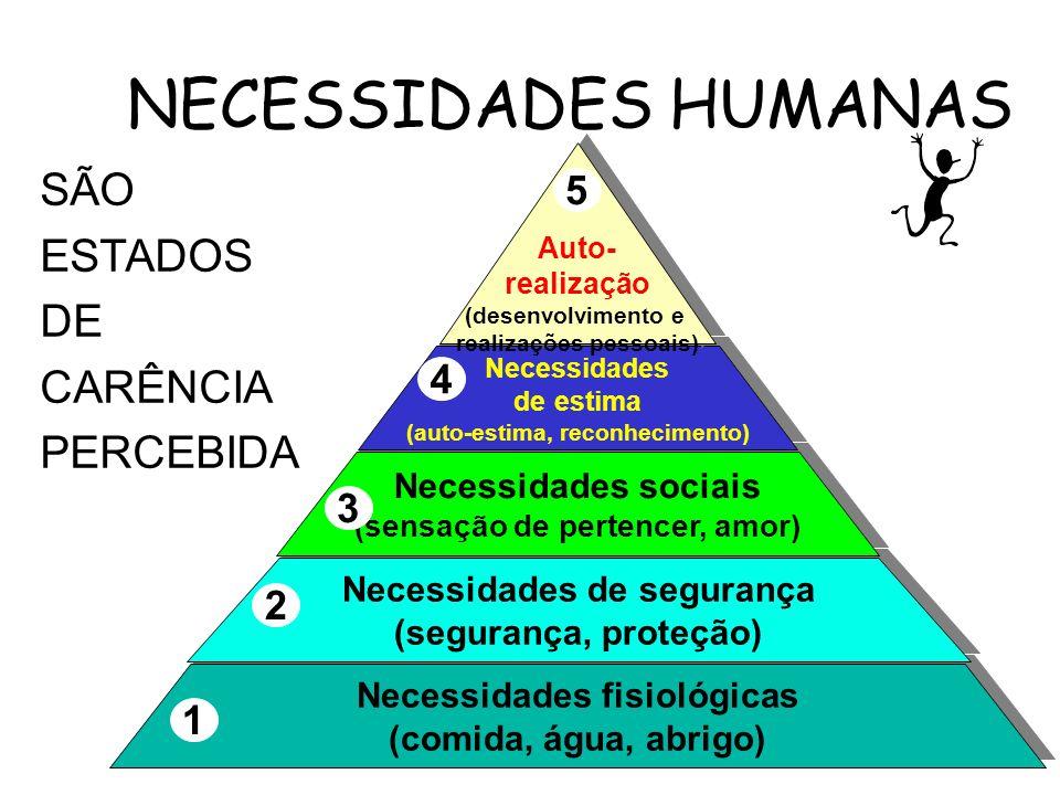NECESSIDADES HUMANAS SÃO ESTADOS DE CARÊNCIA PERCEBIDA 5 4 3 2 1