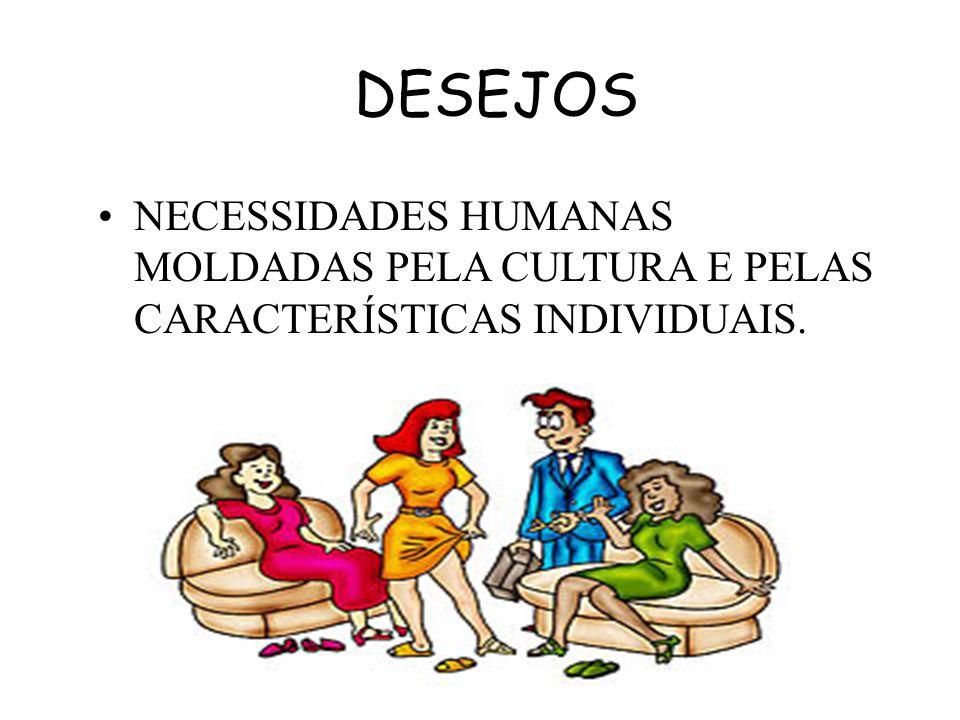 DESEJOS NECESSIDADES HUMANAS MOLDADAS PELA CULTURA E PELAS CARACTERÍSTICAS INDIVIDUAIS.