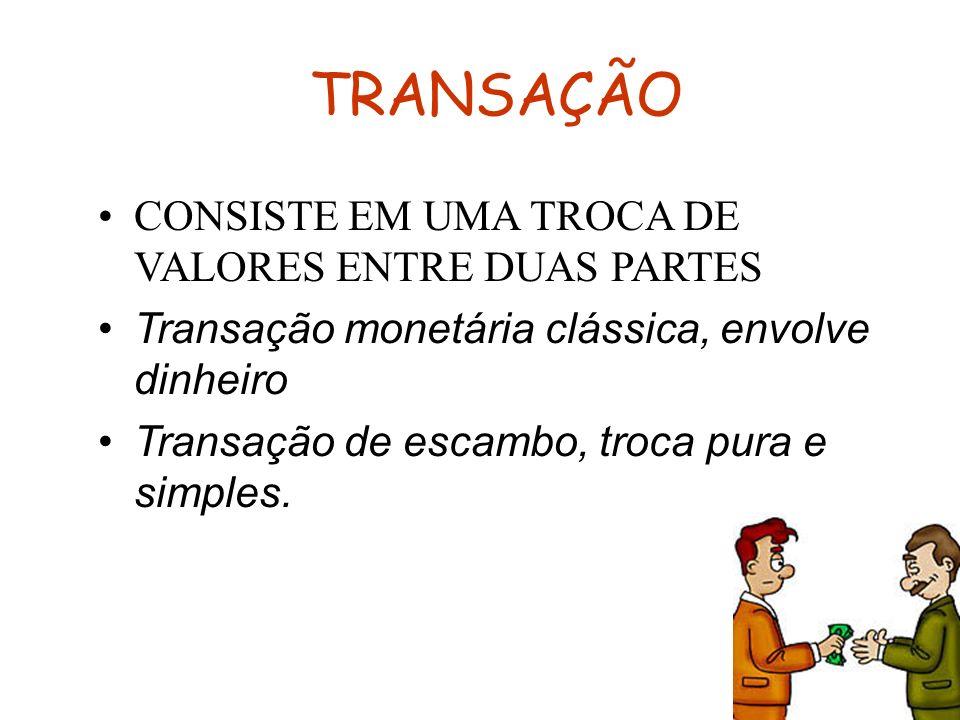 TRANSAÇÃO CONSISTE EM UMA TROCA DE VALORES ENTRE DUAS PARTES