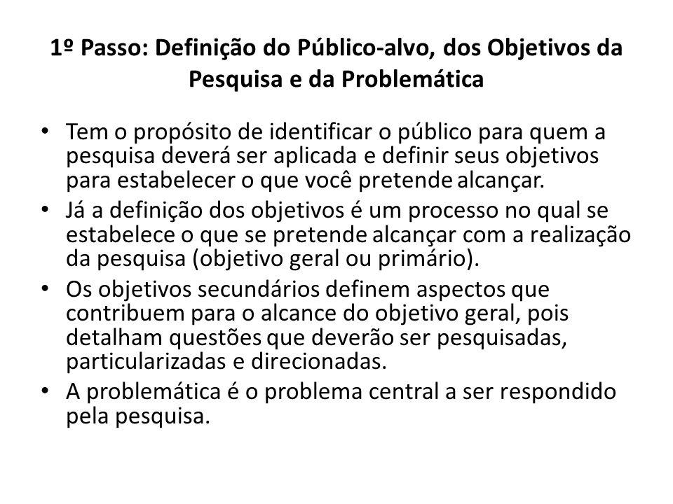 1º Passo: Definição do Público-alvo, dos Objetivos da Pesquisa e da Problemática