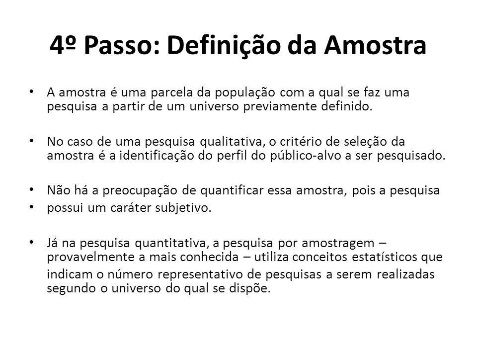 4º Passo: Definição da Amostra