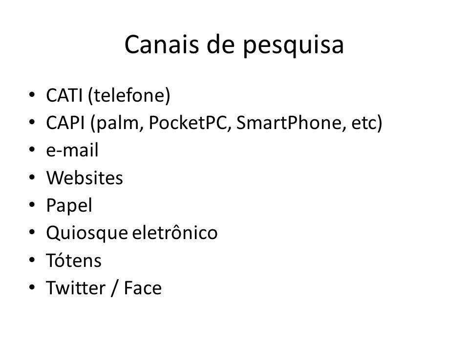Canais de pesquisa CATI (telefone)