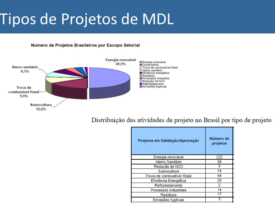 Tipos de Projetos de MDL