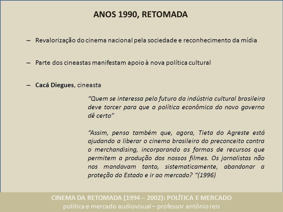 ANOS 1990, RETOMADA Revalorização do cinema nacional pela sociedade e reconhecimento da mídia.
