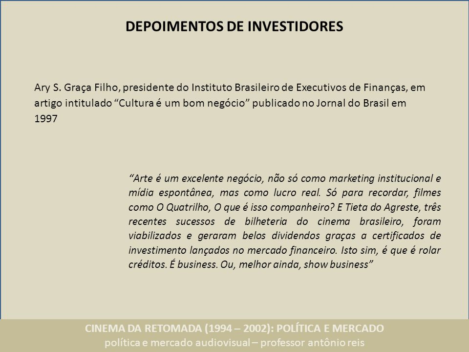 DEPOIMENTOS DE INVESTIDORES