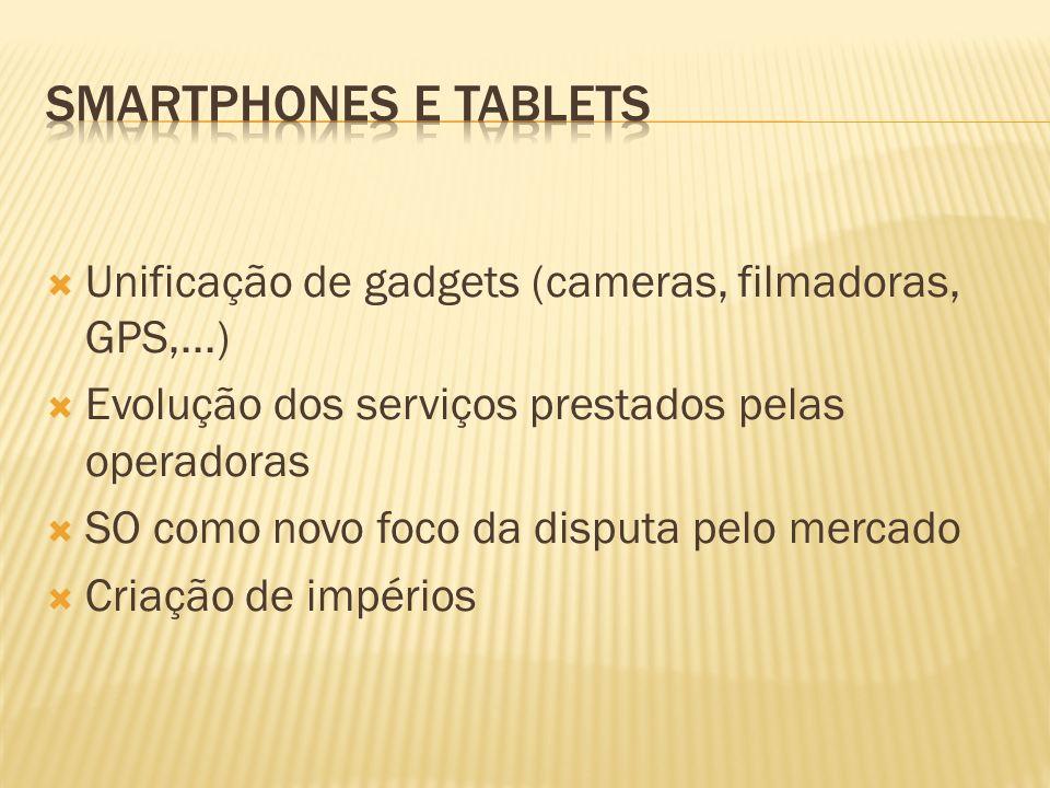 Smartphones e Tablets Unificação de gadgets (cameras, filmadoras, GPS,...) Evolução dos serviços prestados pelas operadoras.