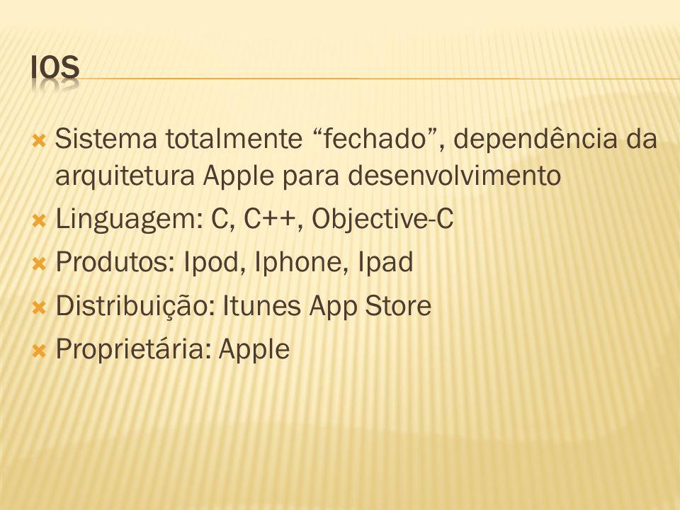 IOS Sistema totalmente fechado , dependência da arquitetura Apple para desenvolvimento. Linguagem: C, C++, Objective-C.