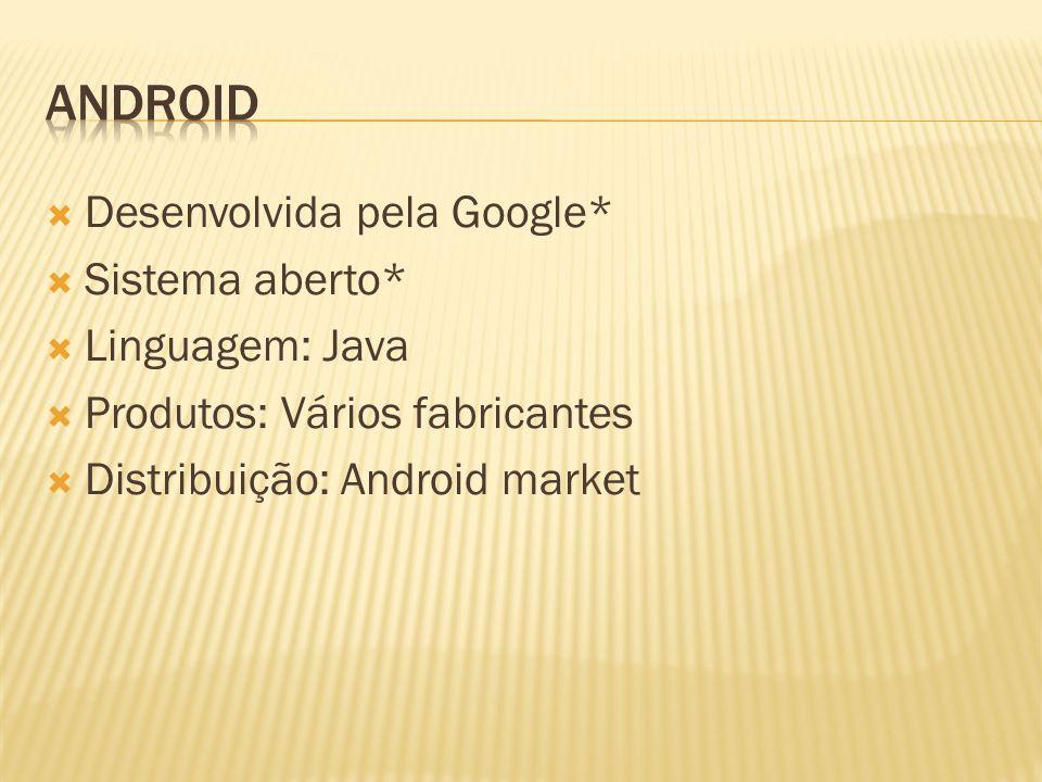 Android Desenvolvida pela Google* Sistema aberto* Linguagem: Java