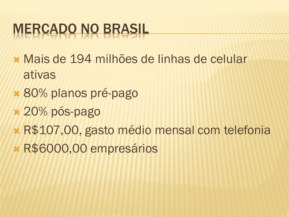 Mercado No Brasil Mais de 194 milhões de linhas de celular ativas