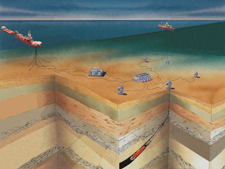 A representação artística de um campo de petróleo offshore permite distinguir a lâmina d'água da profundidade dos poços de petróleo.