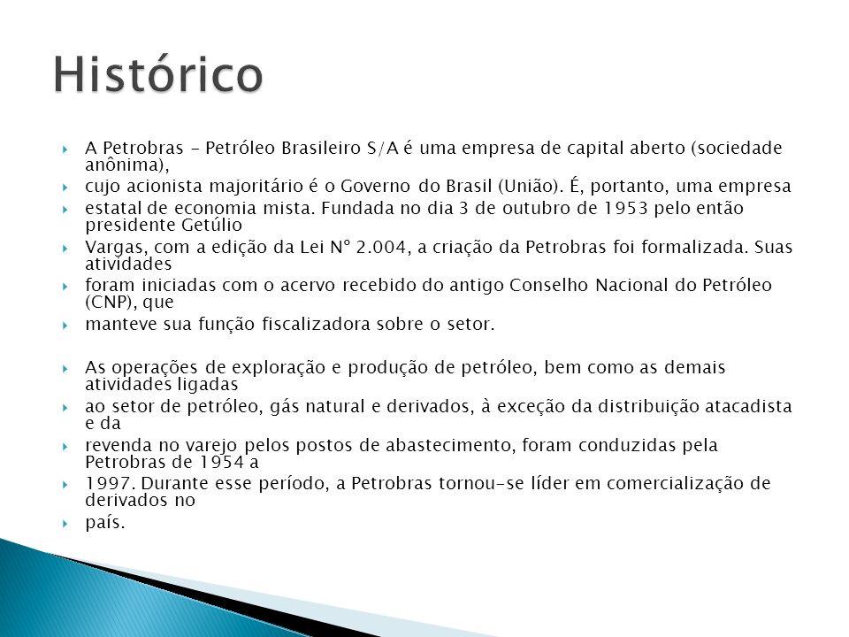 Histórico A Petrobras - Petróleo Brasileiro S/A é uma empresa de capital aberto (sociedade anônima),