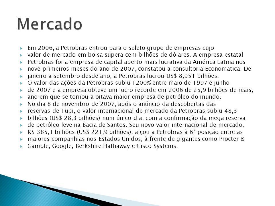 Mercado Em 2006, a Petrobras entrou para o seleto grupo de empresas cujo. valor de mercado em bolsa supera cem bilhões de dólares. A empresa estatal.