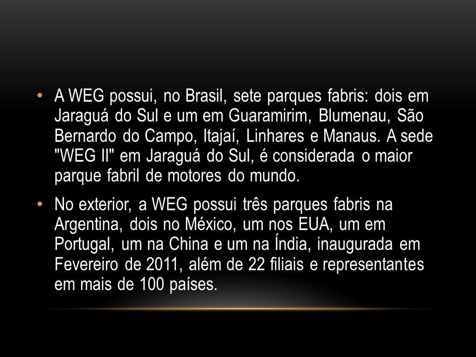 A WEG possui, no Brasil, sete parques fabris: dois em Jaraguá do Sul e um em Guaramirim, Blumenau, São Bernardo do Campo, Itajaí, Linhares e Manaus. A sede WEG II em Jaraguá do Sul, é considerada o maior parque fabril de motores do mundo.