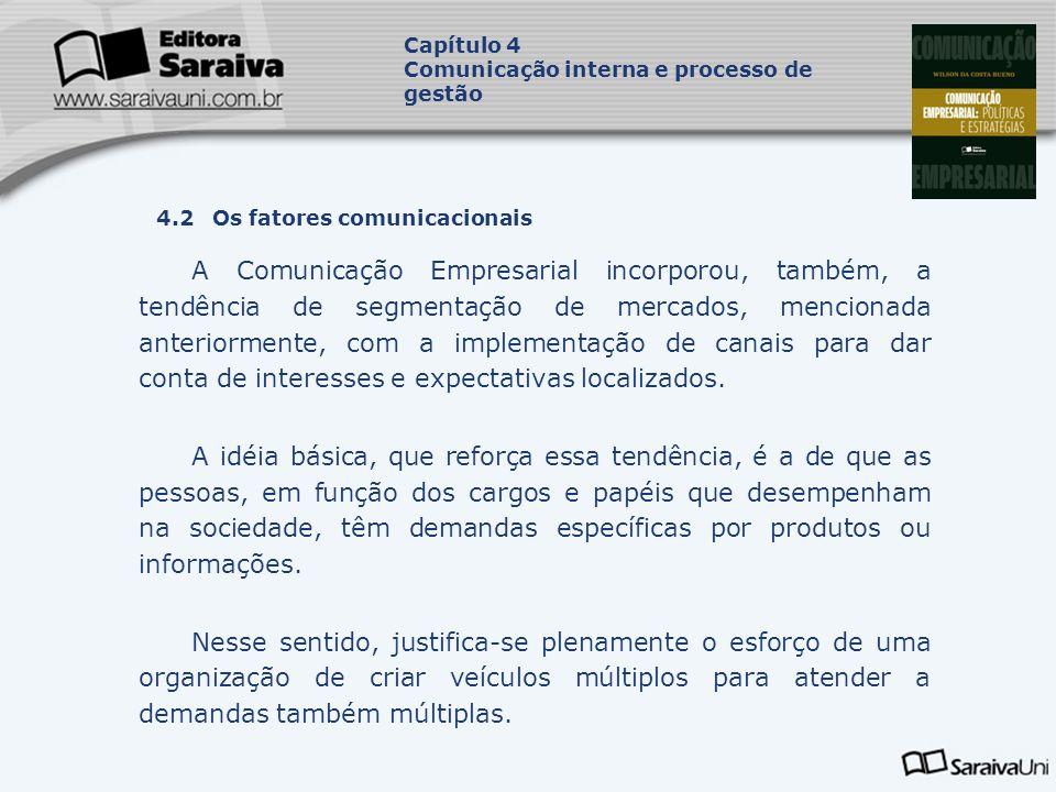 Capítulo 4 Comunicação interna e processo de gestão. Capa. da Obra. 4.2 Os fatores comunicacionais.