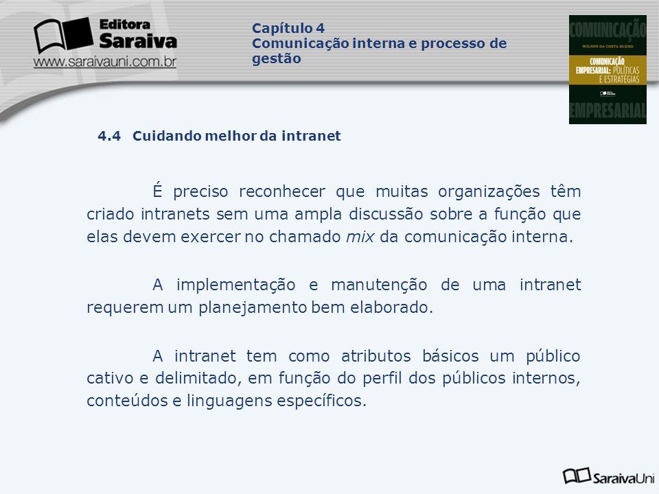 Capítulo 4 Comunicação interna e processo de gestão. Capa. da Obra. 4.4 Cuidando melhor da intranet.