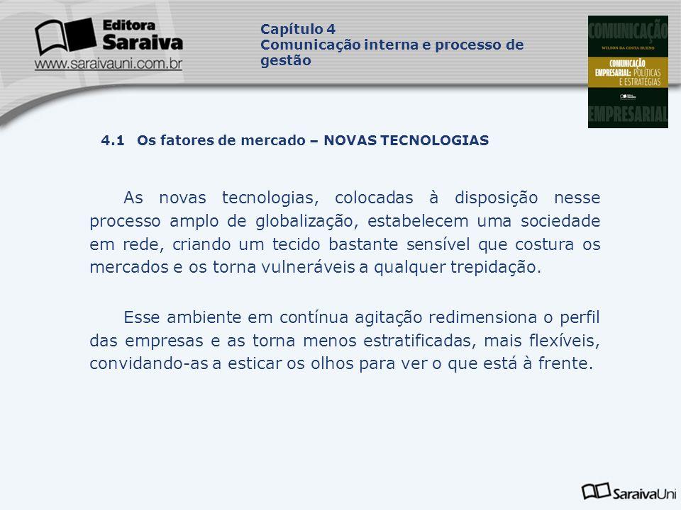 Capítulo 4 Comunicação interna e processo de gestão. Capa. da Obra. 4.1 Os fatores de mercado – NOVAS TECNOLOGIAS.