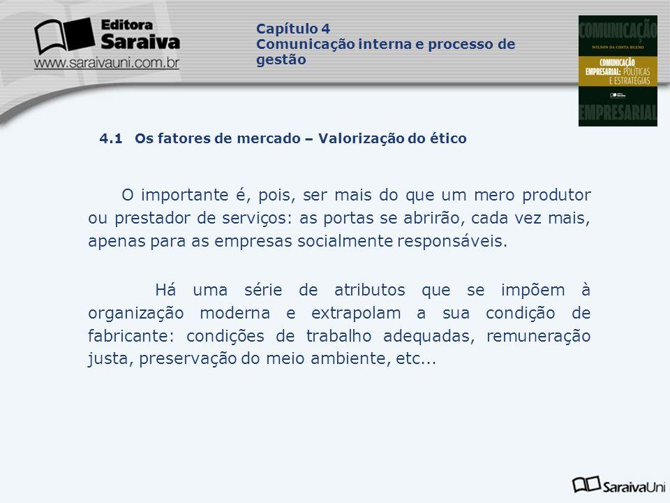 Capítulo 4 Comunicação interna e processo de gestão. Capa. da Obra. 4.1 Os fatores de mercado – Valorização do ético.