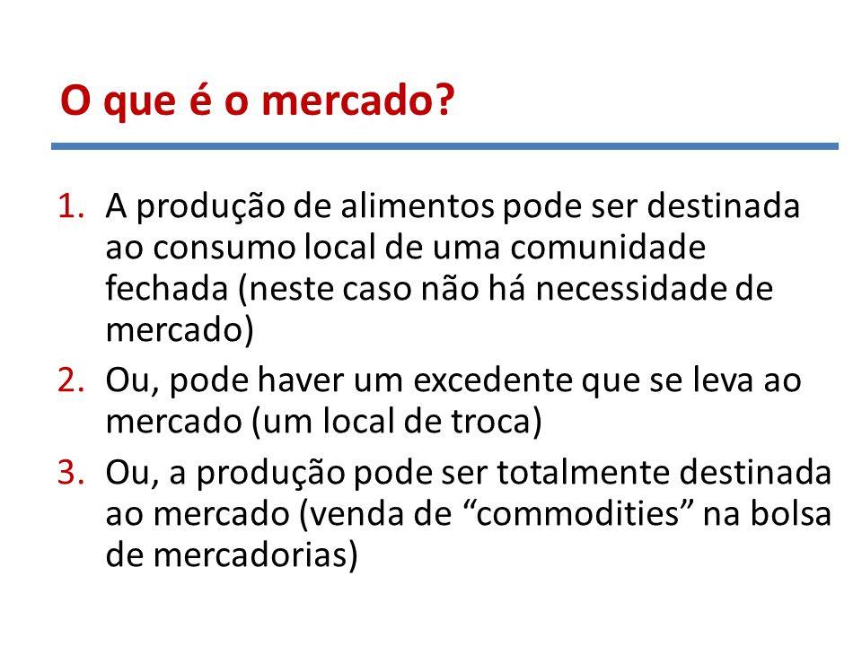 O que é o mercado A produção de alimentos pode ser destinada ao consumo local de uma comunidade fechada (neste caso não há necessidade de mercado)