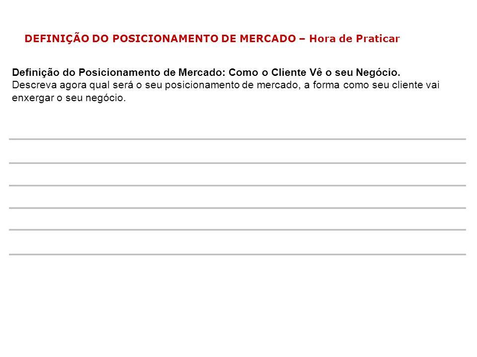 DEFINIÇÃO DO POSICIONAMENTO DE MERCADO – Hora de Praticar