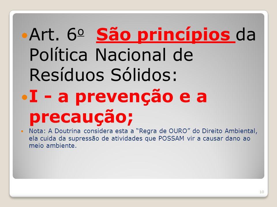 Art. 6o São princípios da Política Nacional de Resíduos Sólidos: