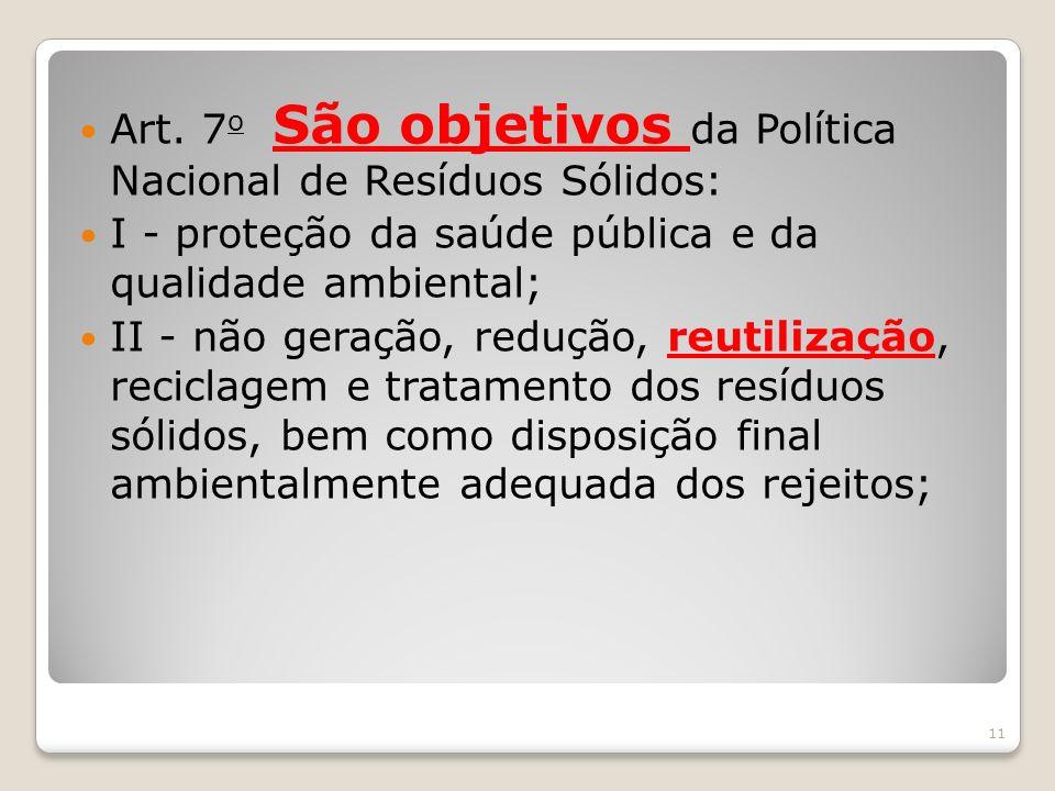 Art. 7o São objetivos da Política Nacional de Resíduos Sólidos: