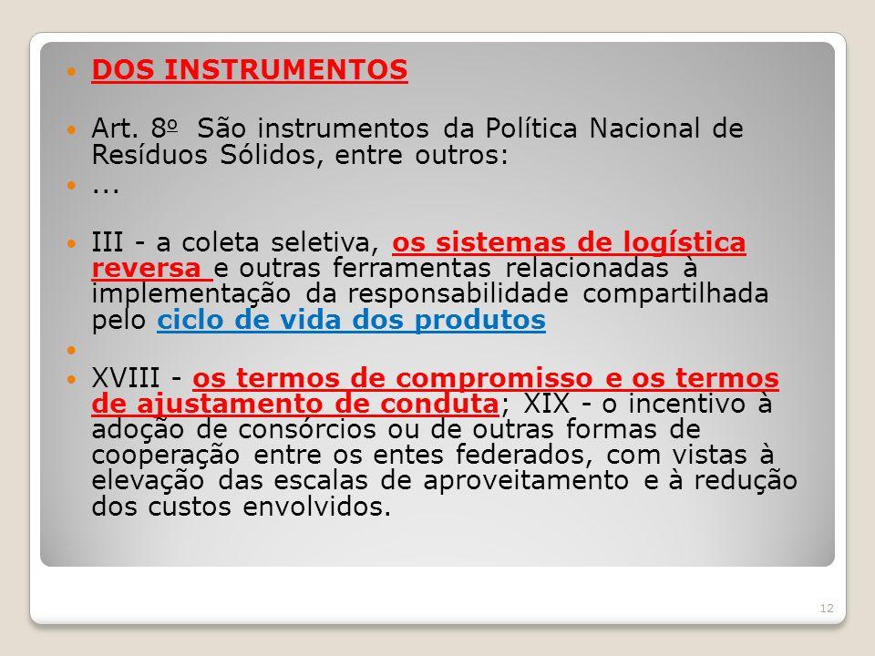 DOS INSTRUMENTOS Art. 8o São instrumentos da Política Nacional de Resíduos Sólidos, entre outros: