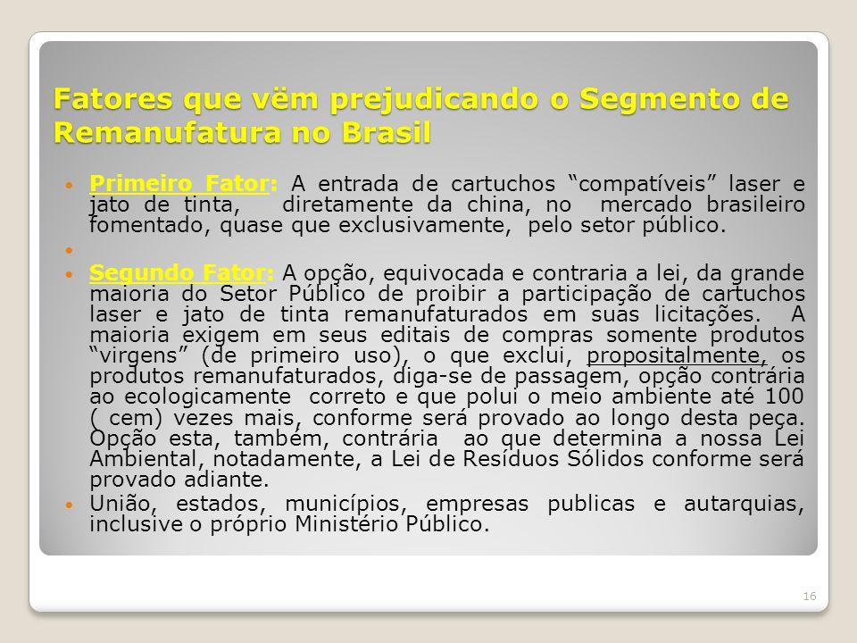 Fatores que vëm prejudicando o Segmento de Remanufatura no Brasil