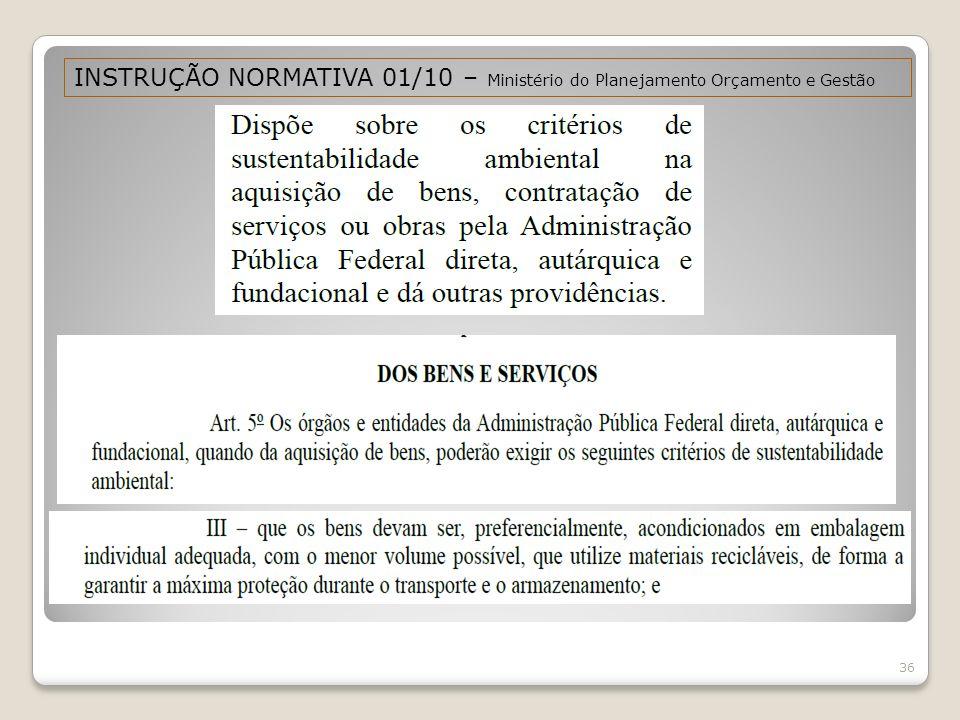 INSTRUÇÃO NORMATIVA 01/10 – Ministério do Planejamento Orçamento e Gestão