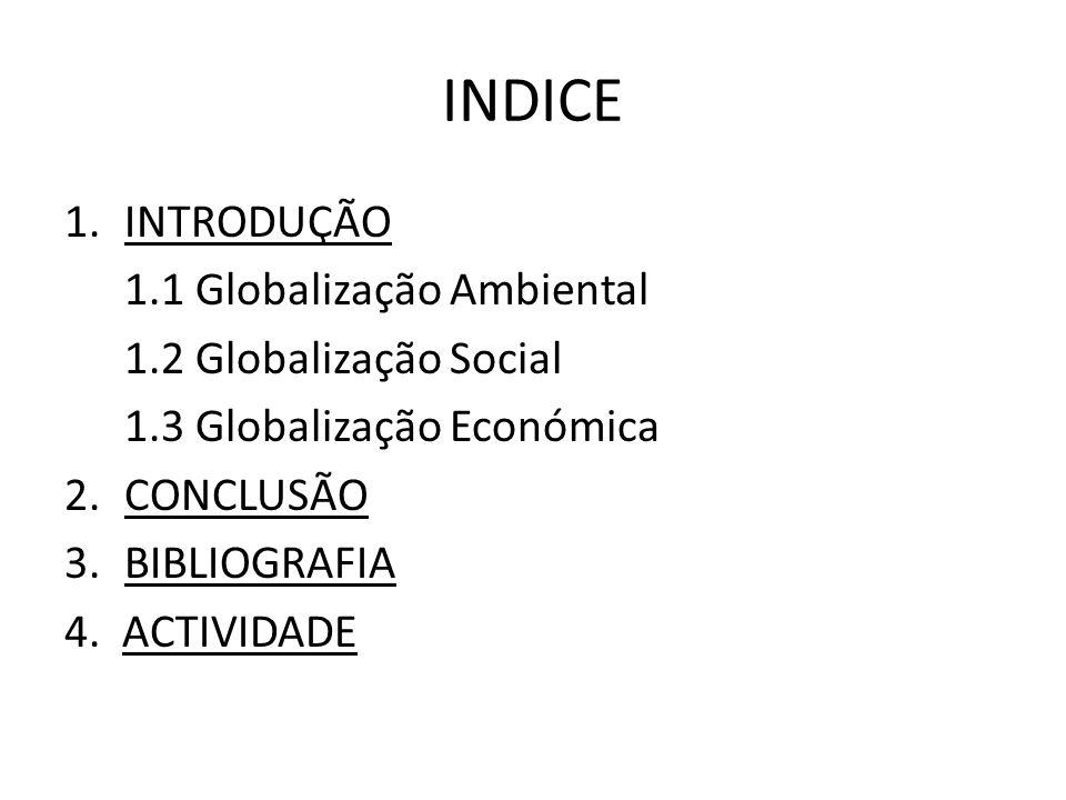 INDICE INTRODUÇÃO 1.1 Globalização Ambiental 1.2 Globalização Social