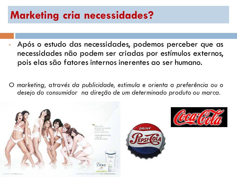 Marketing cria necessidades