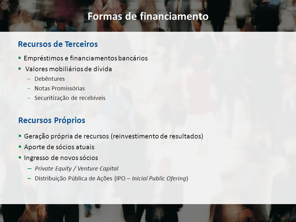 Formas de financiamento