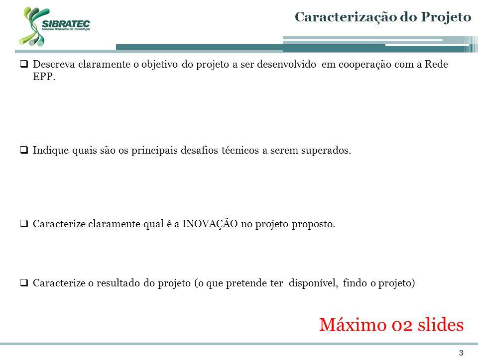Máximo 02 slides Caracterização do Projeto