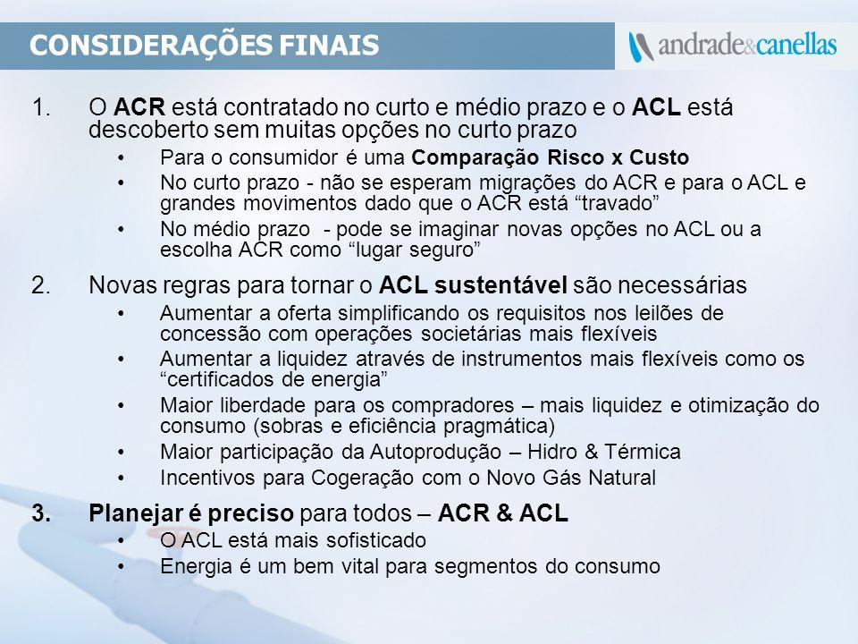 CONSIDERAÇÕES FINAIS O ACR está contratado no curto e médio prazo e o ACL está descoberto sem muitas opções no curto prazo.