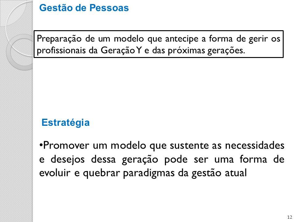 Gestão de Pessoas Preparação de um modelo que antecipe a forma de gerir os profissionais da Geração Y e das próximas gerações.