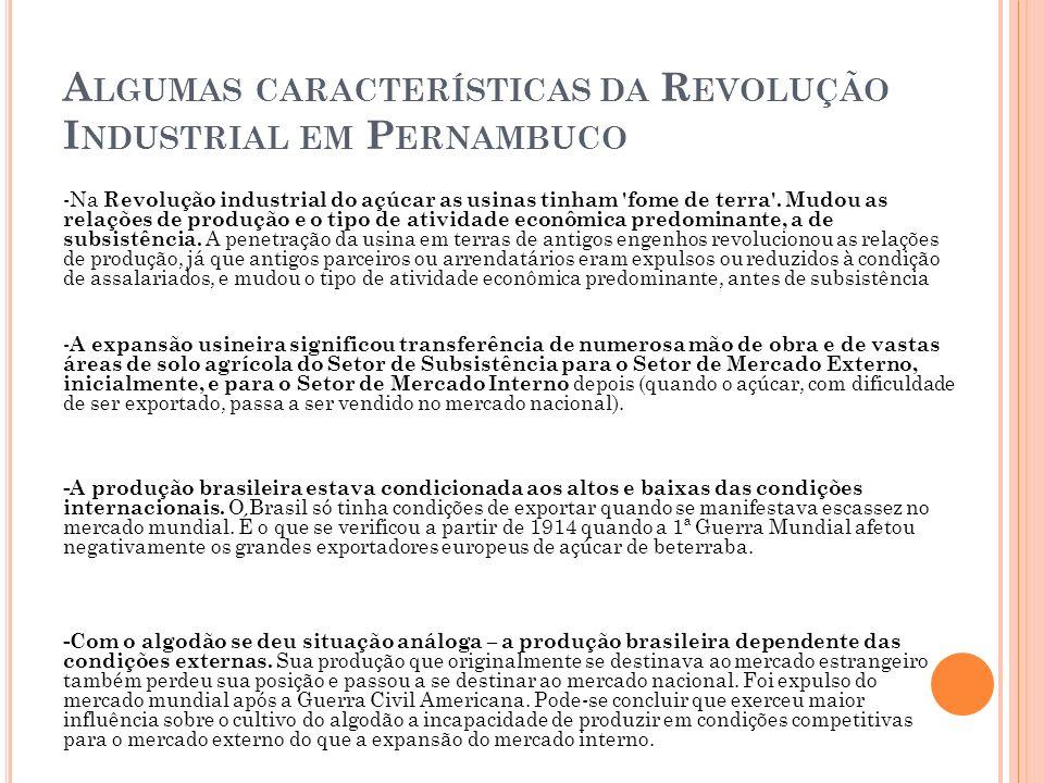 Algumas características da Revolução Industrial em Pernambuco