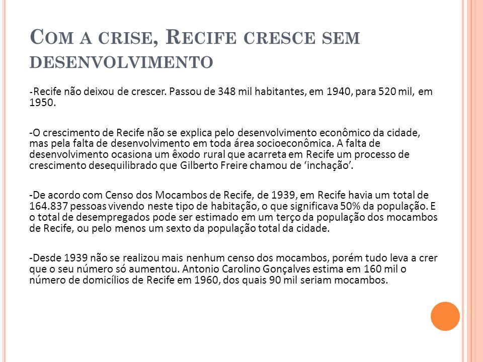 Com a crise, Recife cresce sem desenvolvimento