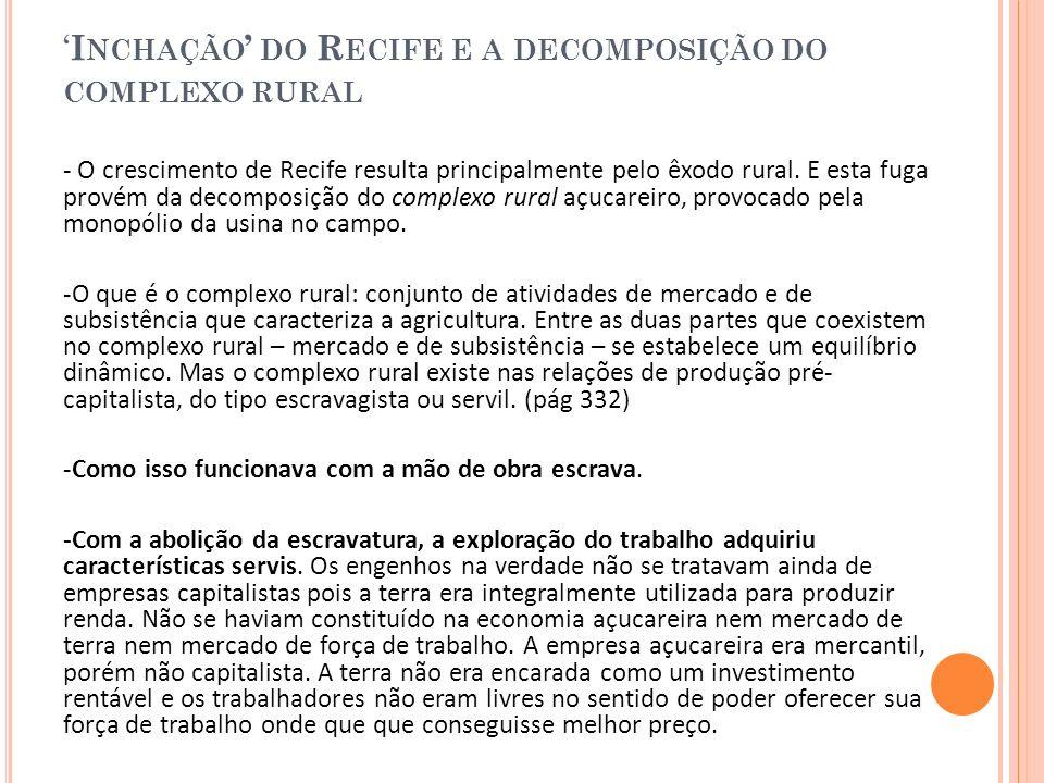 'Inchação' do Recife e a decomposição do complexo rural