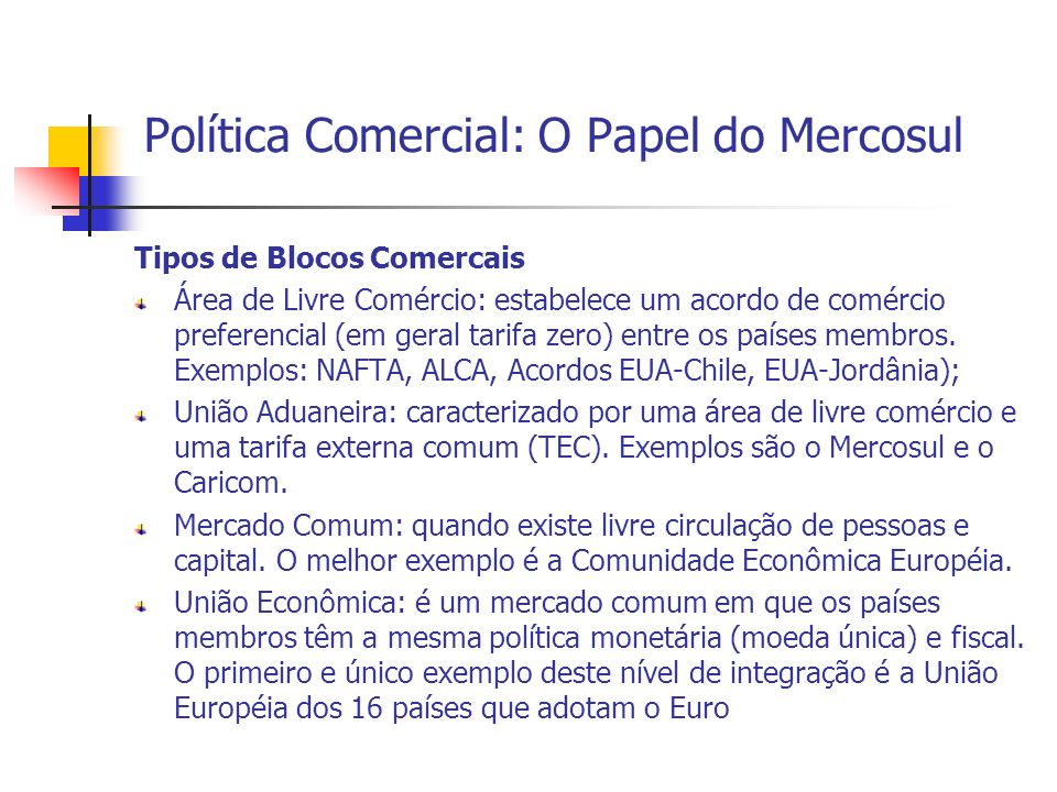 Política Comercial: O Papel do Mercosul