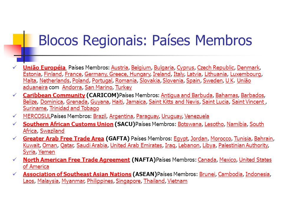 Blocos Regionais: Países Membros