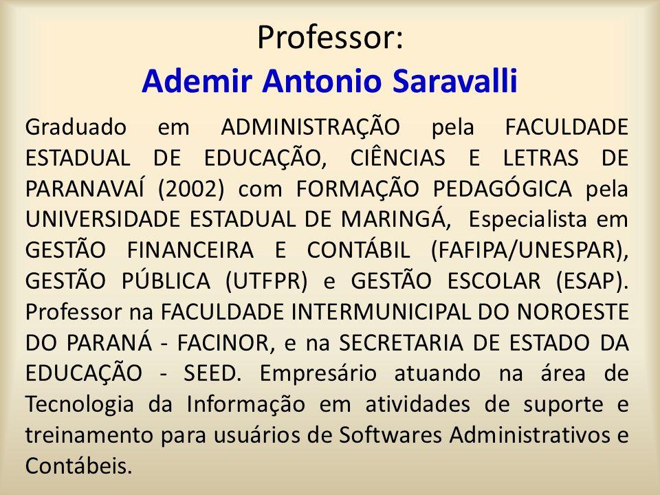 Professor: Ademir Antonio Saravalli